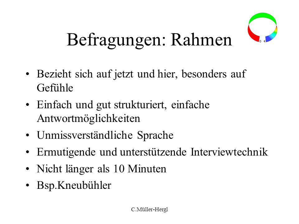 C.Müller-Hergl Befragungen: Rahmen Bezieht sich auf jetzt und hier, besonders auf Gefühle Einfach und gut strukturiert, einfache Antwortmöglichkeiten