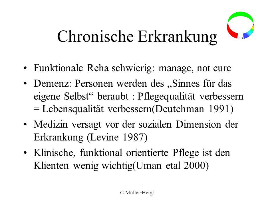 C.Müller-Hergl Chronische Erkrankung Funktionale Reha schwierig: manage, not cure Demenz: Personen werden des Sinnes für das eigene Selbst beraubt : P