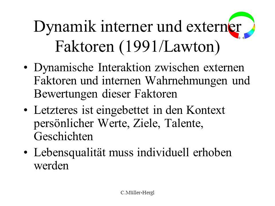 C.Müller-Hergl Dynamik interner und externer Faktoren (1991/Lawton) Dynamische Interaktion zwischen externen Faktoren und internen Wahrnehmungen und B
