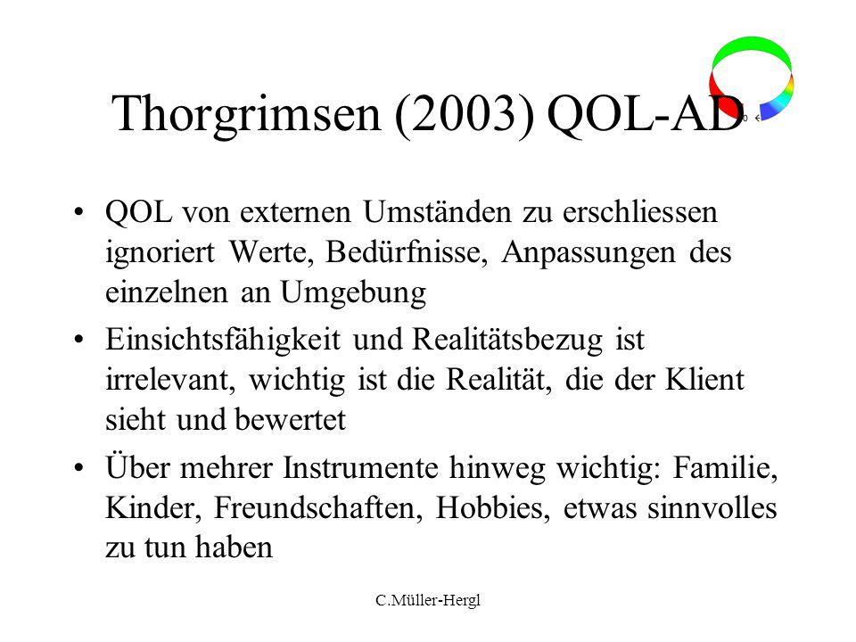 Thorgrimsen (2003) QOL-AD QOL von externen Umständen zu erschliessen ignoriert Werte, Bedürfnisse, Anpassungen des einzelnen an Umgebung Einsichtsfähi