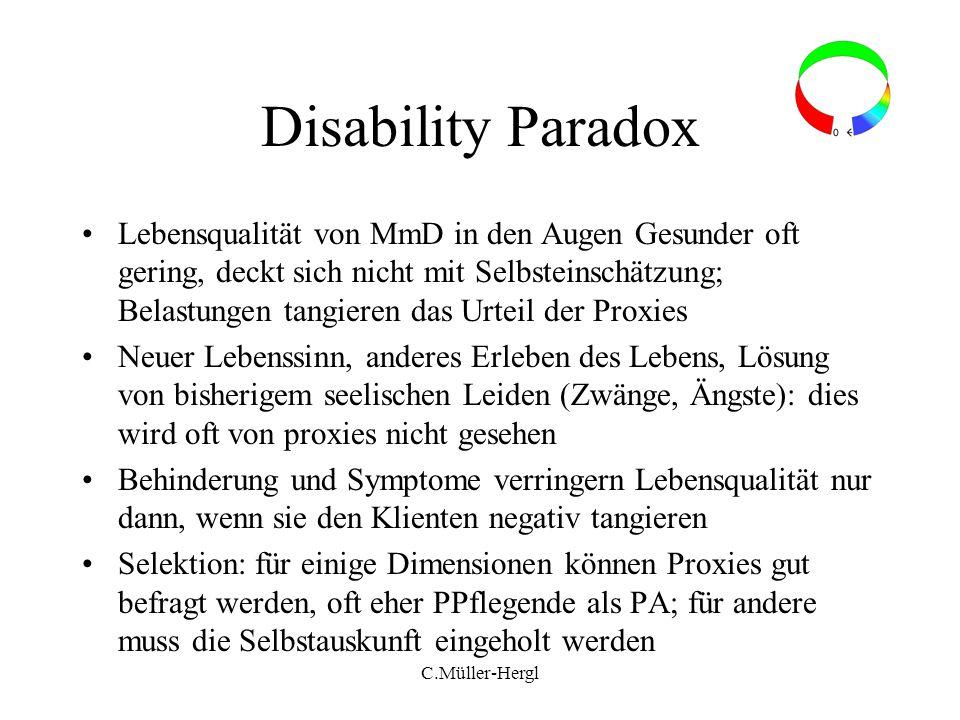C.Müller-Hergl Disability Paradox Lebensqualität von MmD in den Augen Gesunder oft gering, deckt sich nicht mit Selbsteinschätzung; Belastungen tangie