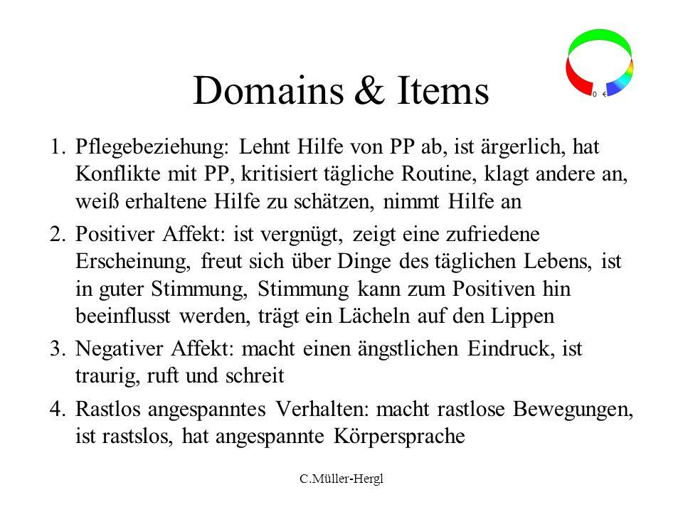 Domains & Items 1.Pflegebeziehung: Lehnt Hilfe von PP ab, ist ärgerlich, hat Konflikte mit PP, kritisiert tägliche Routine, klagt andere an, weiß erha