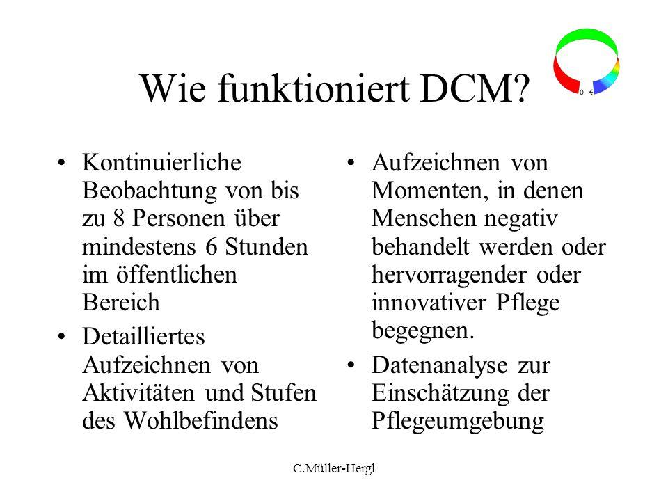 C.Müller-Hergl Wie funktioniert DCM? Kontinuierliche Beobachtung von bis zu 8 Personen über mindestens 6 Stunden im öffentlichen Bereich Detailliertes