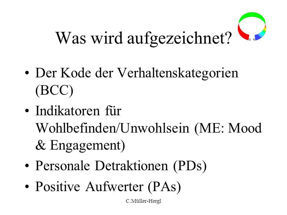 C.Müller-Hergl Was wird aufgezeichnet? Der Kode der Verhaltenskategorien (BCC) Indikatoren für Wohlbefinden/Unwohlsein (ME: Mood & Engagement) Persona