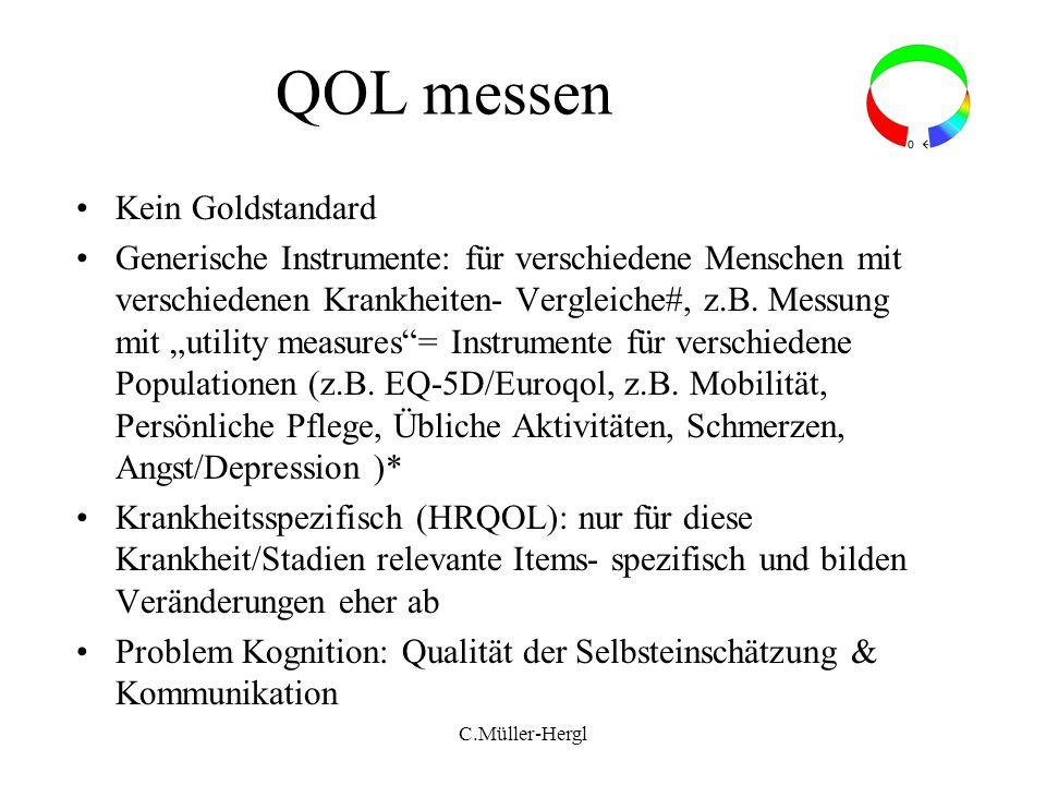 QOL messen Kein Goldstandard Generische Instrumente: für verschiedene Menschen mit verschiedenen Krankheiten- Vergleiche#, z.B. Messung mit utility me