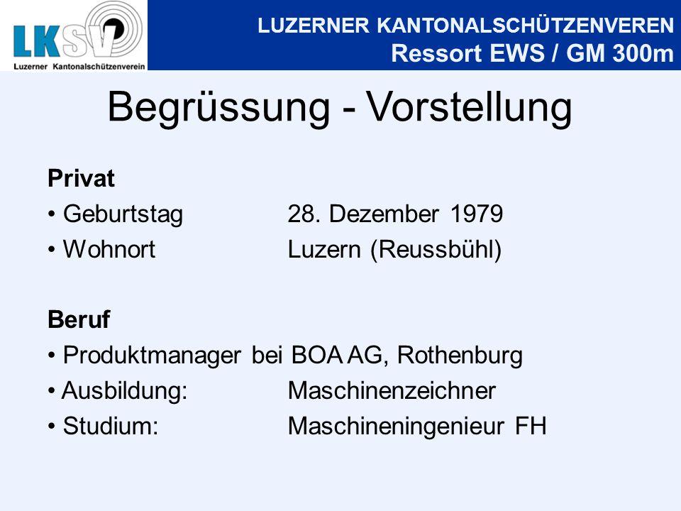 LUZERNER KANTONALSCHÜTZENVEREN Ressort EWS / GM 300m Begrüssung - Vorstellung Privat Geburtstag28.