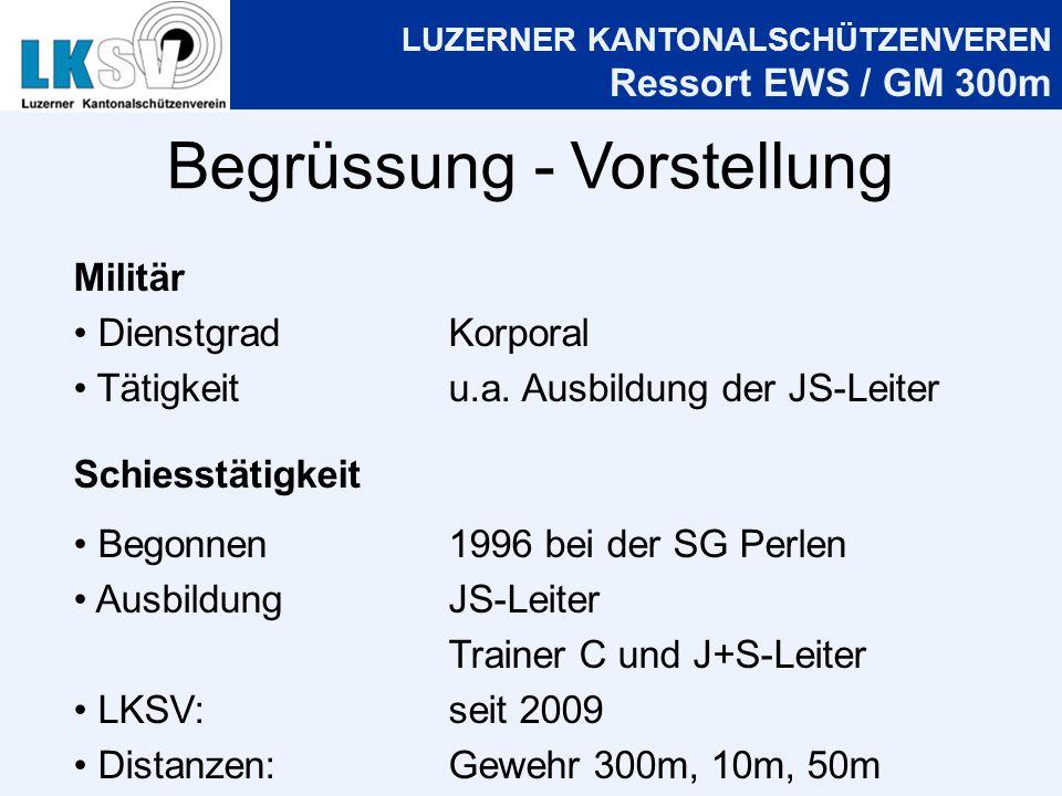 LUZERNER KANTONALSCHÜTZENVEREN Ressort EWS / GM 300m Begrüssung - Vorstellung Militär DienstgradKorporal Tätigkeitu.a.