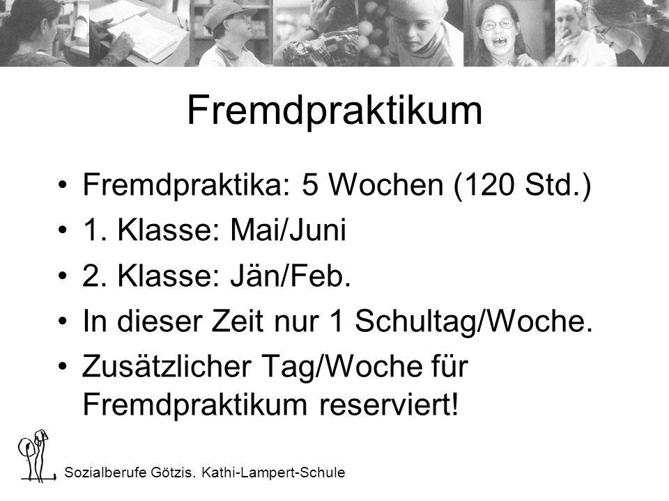 Sozialberufe Götzis. Kathi-Lampert-Schule Fremdpraktikum Fremdpraktika: 5 Wochen (120 Std.) 1.