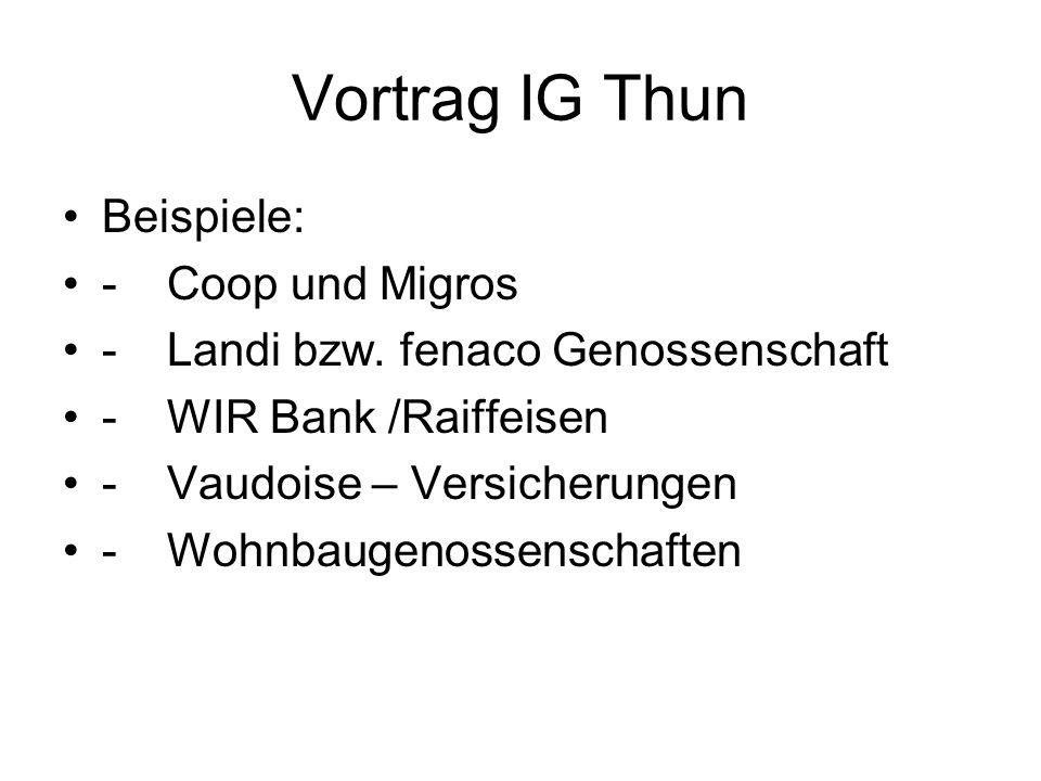 Vortrag IG Thun Prämien pro Genossenschaft Schadenssummemit Sbohne Sb 1 Mio850.--1020.-- 2 Mio 1190.--1430.-- 3 Mio 1440.--1730.-- 5 Mio2050.--2460.-- 10 Mio3500.--4200.--