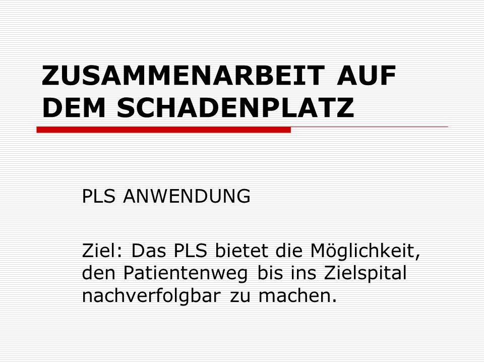 ZUSAMMENARBEIT AUF DEM SCHADENPLATZ PLS ANWENDUNG Ziel: Das PLS bietet die Möglichkeit, den Patientenweg bis ins Zielspital nachverfolgbar zu machen.