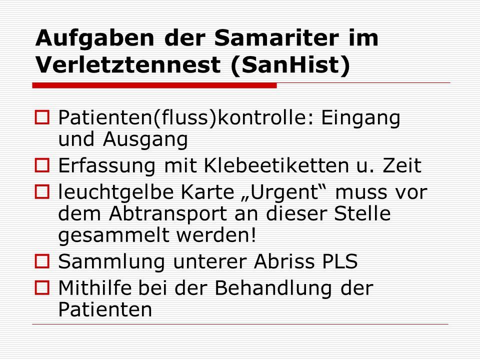 Aufgaben der Samariter im Verletztennest (SanHist) Patienten(fluss)kontrolle: Eingang und Ausgang Erfassung mit Klebeetiketten u. Zeit leuchtgelbe Kar