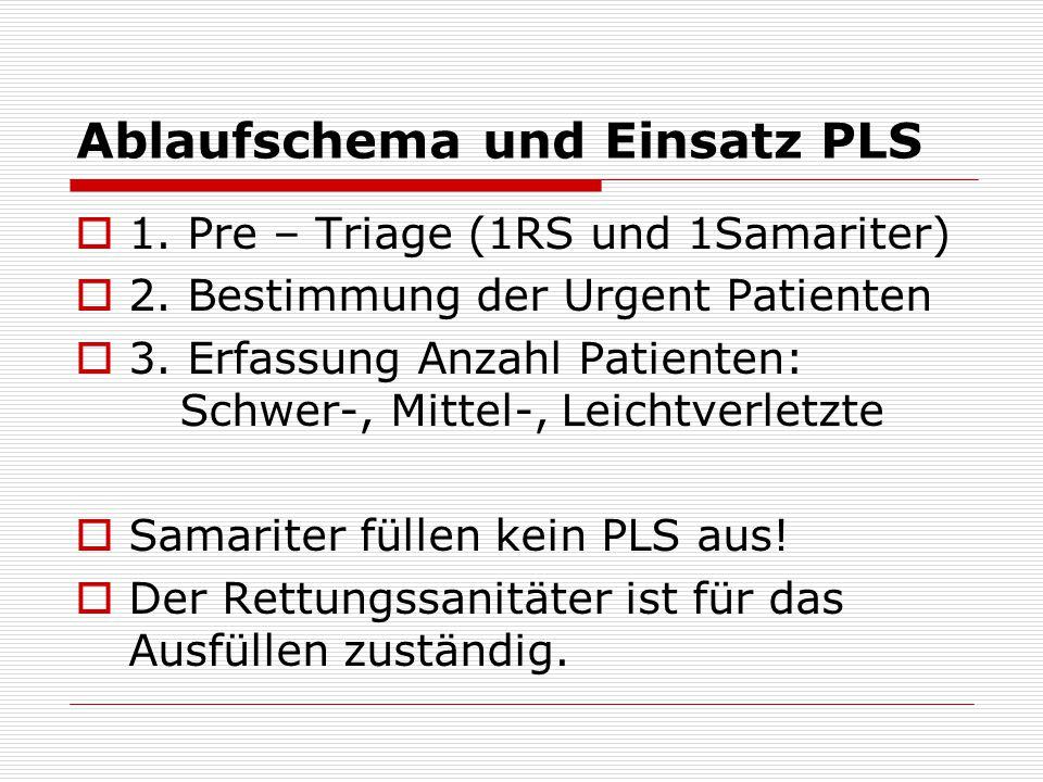 Ablaufschema und Einsatz PLS 1. Pre – Triage (1RS und 1Samariter) 2. Bestimmung der Urgent Patienten 3. Erfassung Anzahl Patienten: Schwer-, Mittel-,