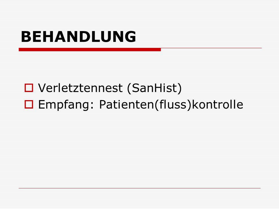 BEHANDLUNG Verletztennest (SanHist) Empfang: Patienten(fluss)kontrolle