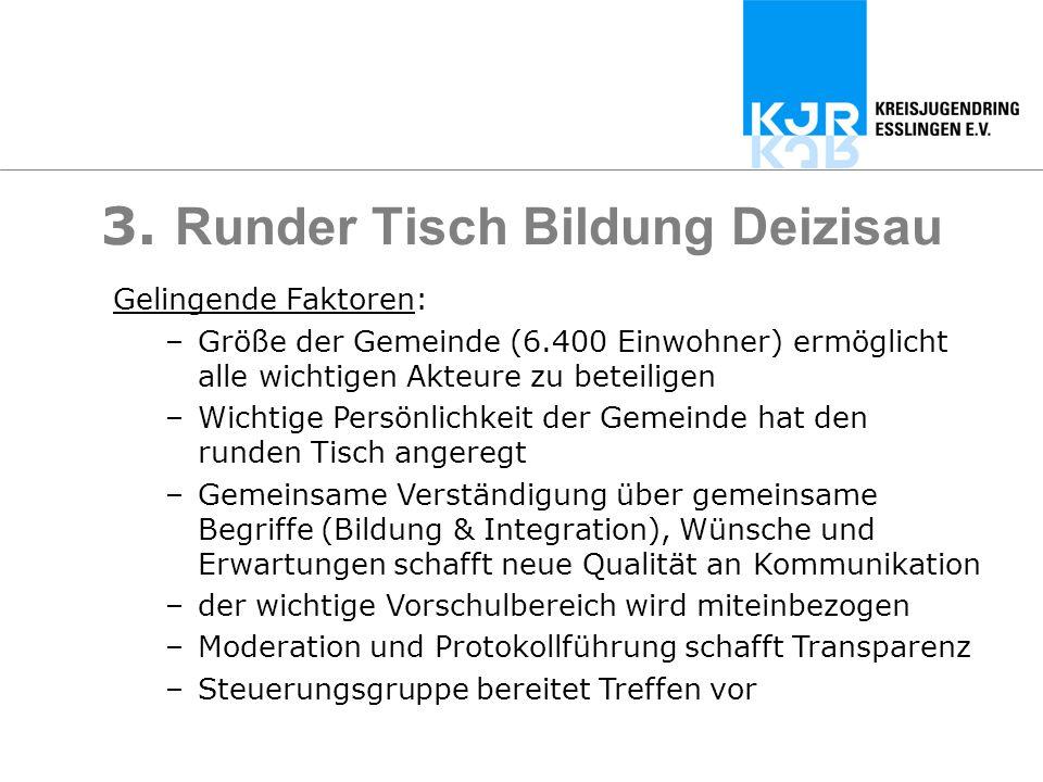 3. Runder Tisch Bildung Deizisau Gelingende Faktoren: –Größe der Gemeinde (6.400 Einwohner) ermöglicht alle wichtigen Akteure zu beteiligen –Wichtige
