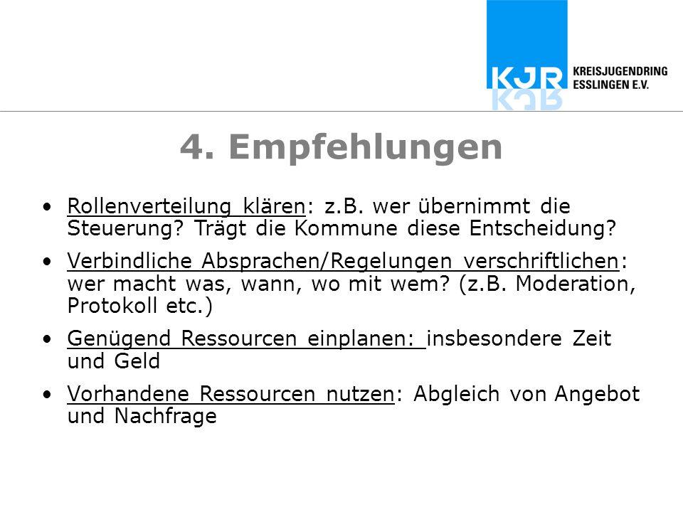 4. Empfehlungen Rollenverteilung klären: z.B. wer übernimmt die Steuerung? Trägt die Kommune diese Entscheidung? Verbindliche Absprachen/Regelungen ve