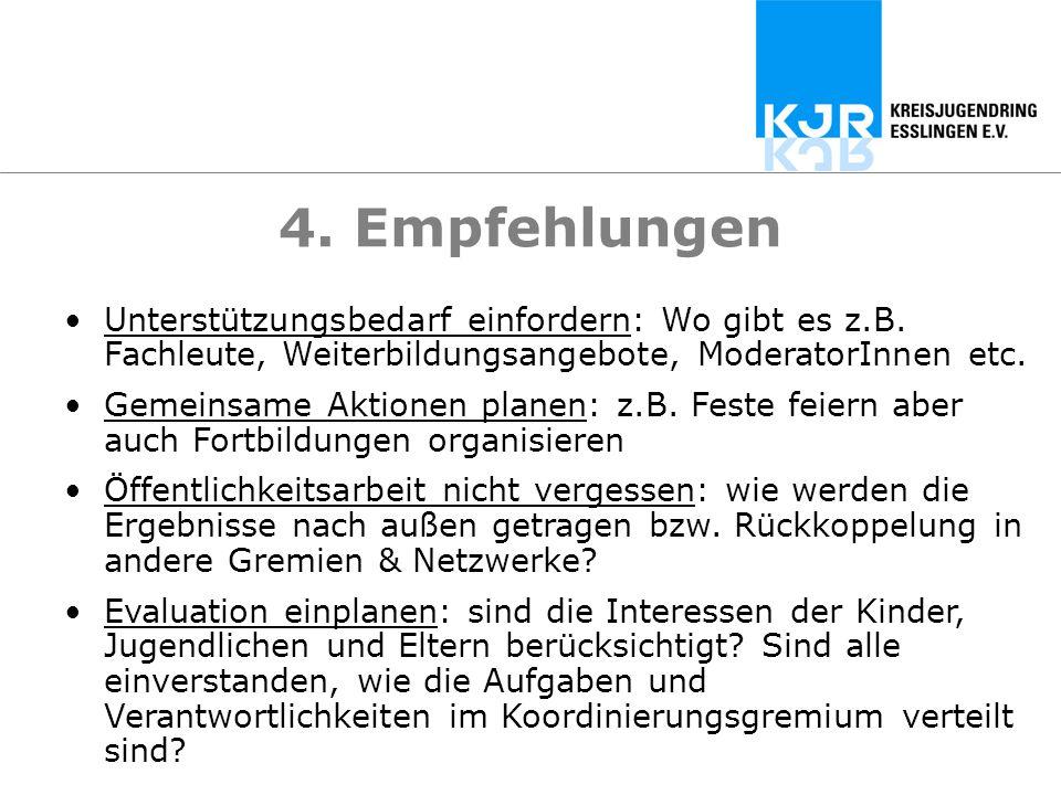 4. Empfehlungen Unterstützungsbedarf einfordern: Wo gibt es z.B. Fachleute, Weiterbildungsangebote, ModeratorInnen etc. Gemeinsame Aktionen planen: z.