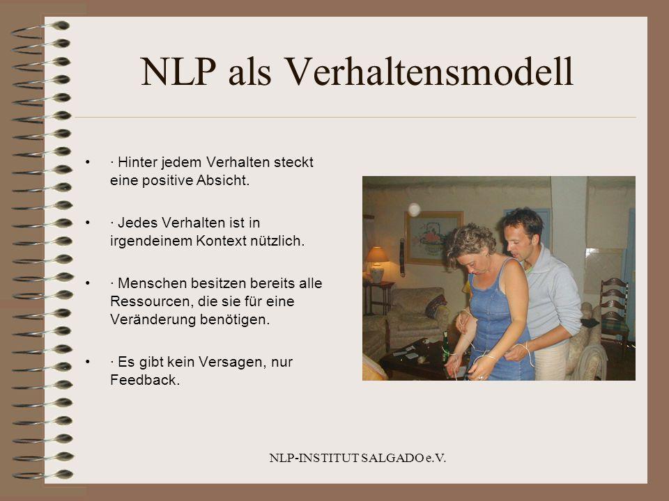 NLP-INSTITUT SALGADO e.V. NLP als Verhaltensmodell · Hinter jedem Verhalten steckt eine positive Absicht. · Jedes Verhalten ist in irgendeinem Kontext