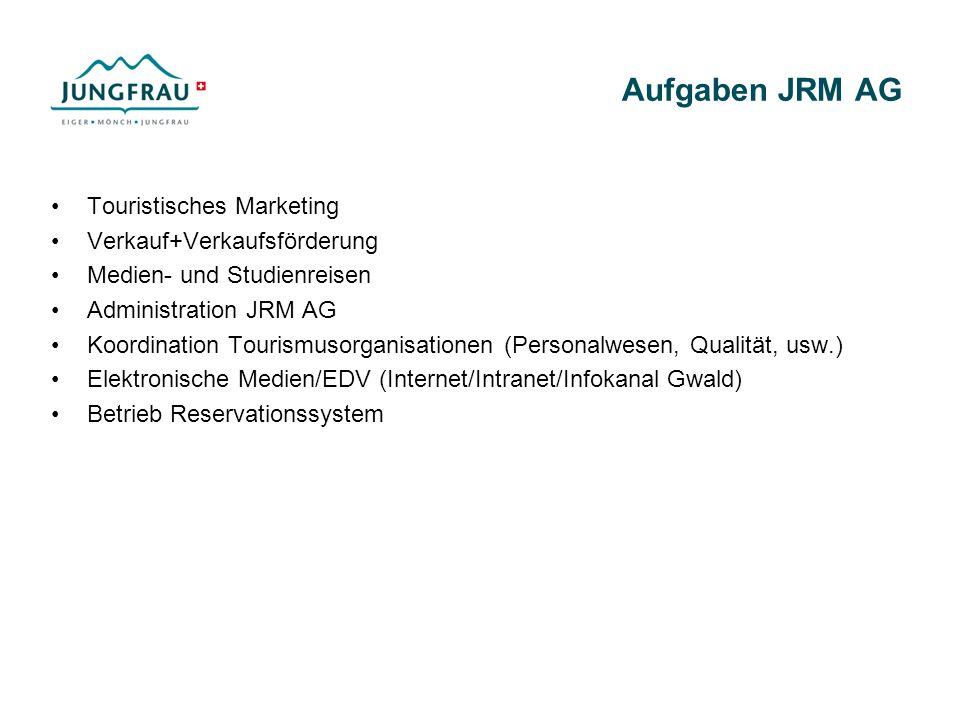 Aufgaben JRM AG Touristisches Marketing Verkauf+Verkaufsförderung Medien- und Studienreisen Administration JRM AG Koordination Tourismusorganisationen