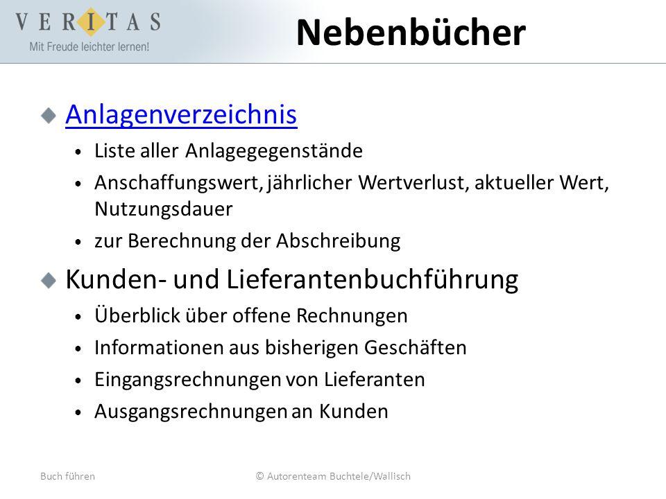 Buch führen© Autorenteam Buchtele/Wallisch Nebenbücher Anlagenverzeichnis Liste aller Anlagegegenstände Anschaffungswert, jährlicher Wertverlust, aktu