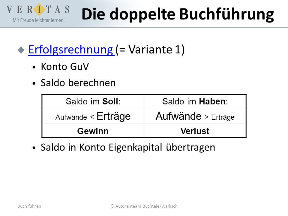 Buch führen© Autorenteam Buchtele/Wallisch Die doppelte Buchführung Erfolgsrechnung Erfolgsrechnung (= Variante 1) Konto GuV Saldo berechnen Saldo in