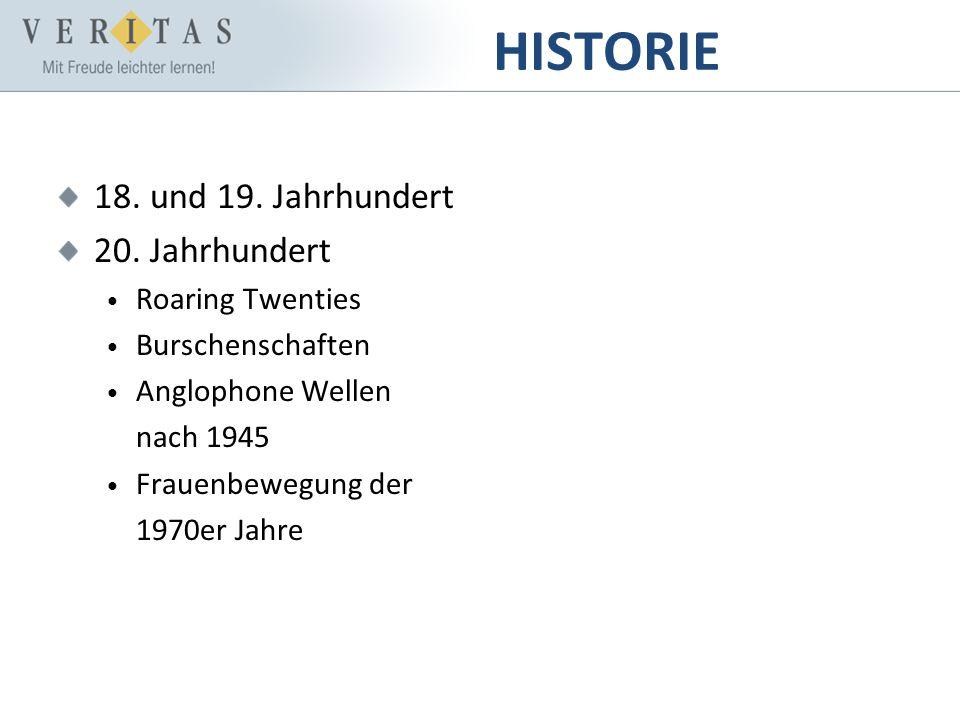 HISTORIE 18. und 19. Jahrhundert 20. Jahrhundert Roaring Twenties Burschenschaften Anglophone Wellen nach 1945 Frauenbewegung der 1970er Jahre
