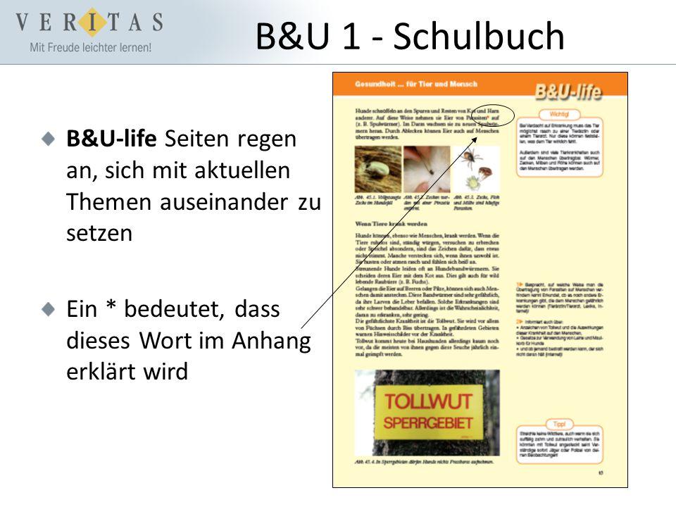 B&U 1 - Schulbuch B&U-life Seiten regen an, sich mit aktuellen Themen auseinander zu setzen Ein * bedeutet, dass dieses Wort im Anhang erklärt wird