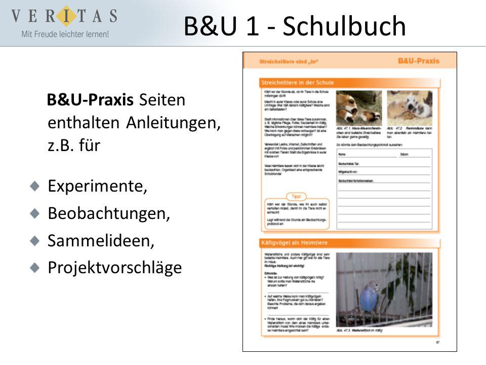 B&U 1 - Schulbuch B&U-Praxis Seiten enthalten Anleitungen, z.B.