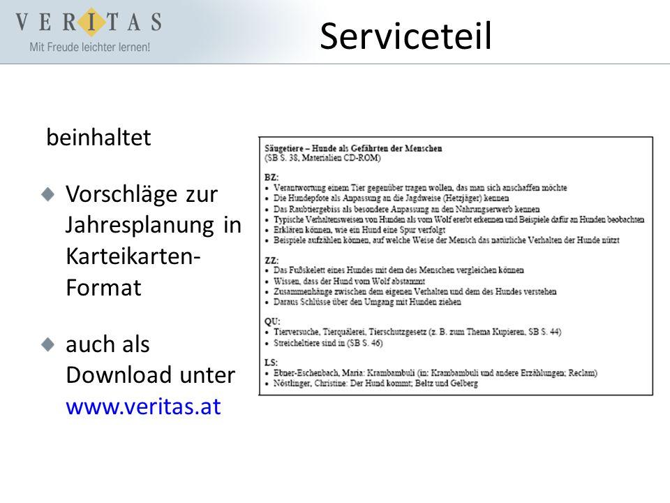 Serviceteil beinhaltet Vorschläge zur Jahresplanung in Karteikarten- Format auch als Download unter www.veritas.at
