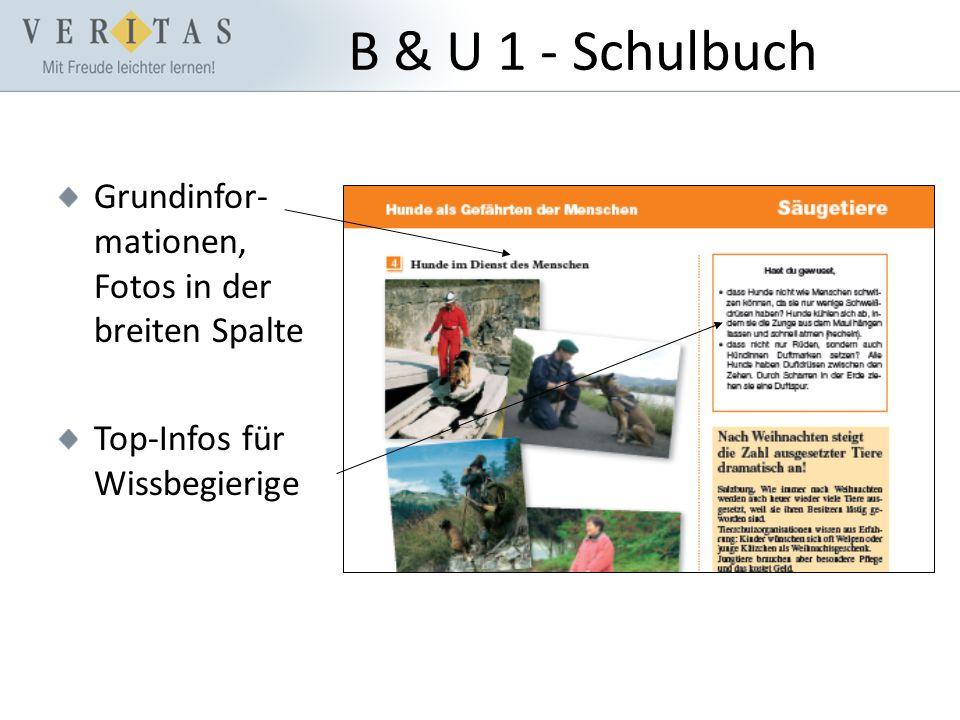 B & U 1 - Schulbuch Grundinfor- mationen, Fotos in der breiten Spalte Top-Infos für Wissbegierige