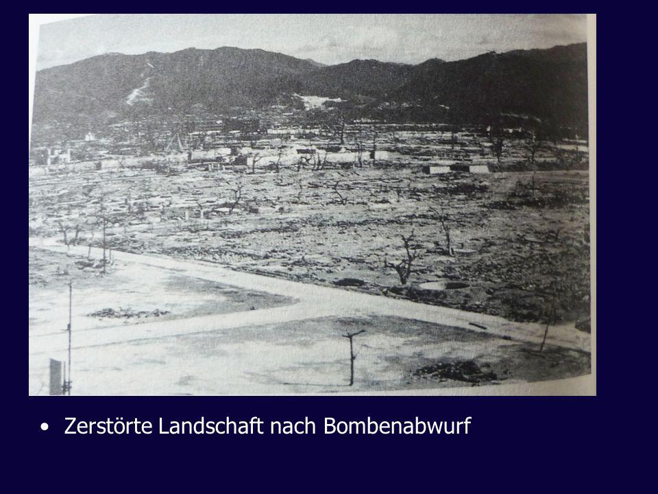 Zerstörte Landschaft nach Bombenabwurf