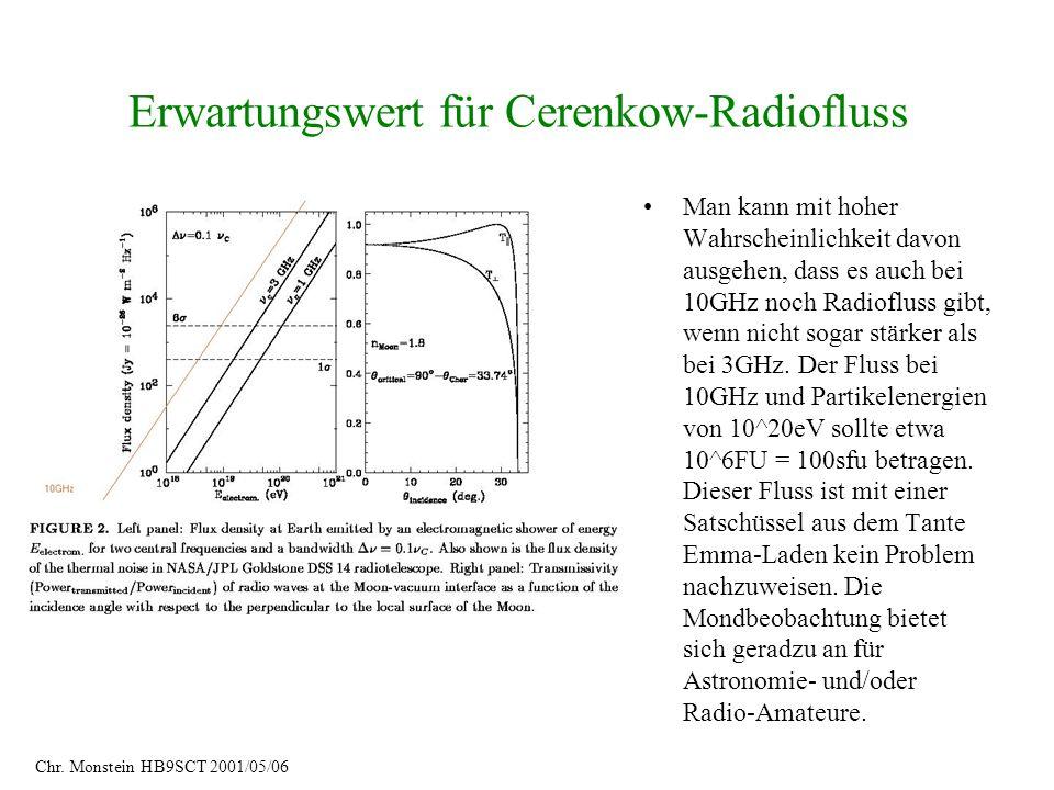 Erwartungswert für Cerenkow-Radiofluss Man kann mit hoher Wahrscheinlichkeit davon ausgehen, dass es auch bei 10GHz noch Radiofluss gibt, wenn nicht s