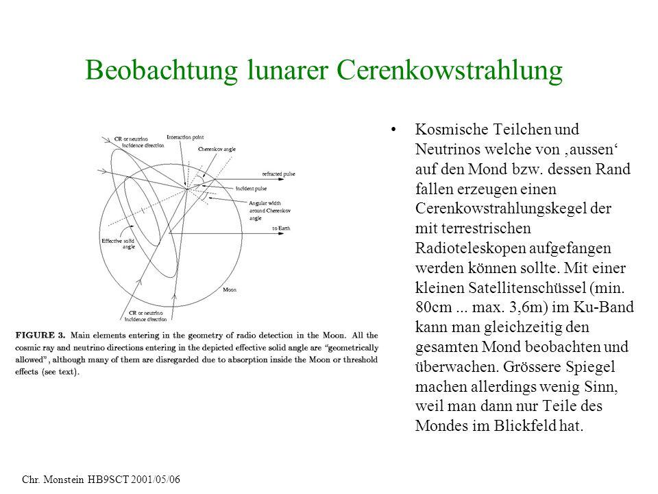 Beobachtung lunarer Cerenkowstrahlung Kosmische Teilchen und Neutrinos welche von aussen auf den Mond bzw. dessen Rand fallen erzeugen einen Cerenkows