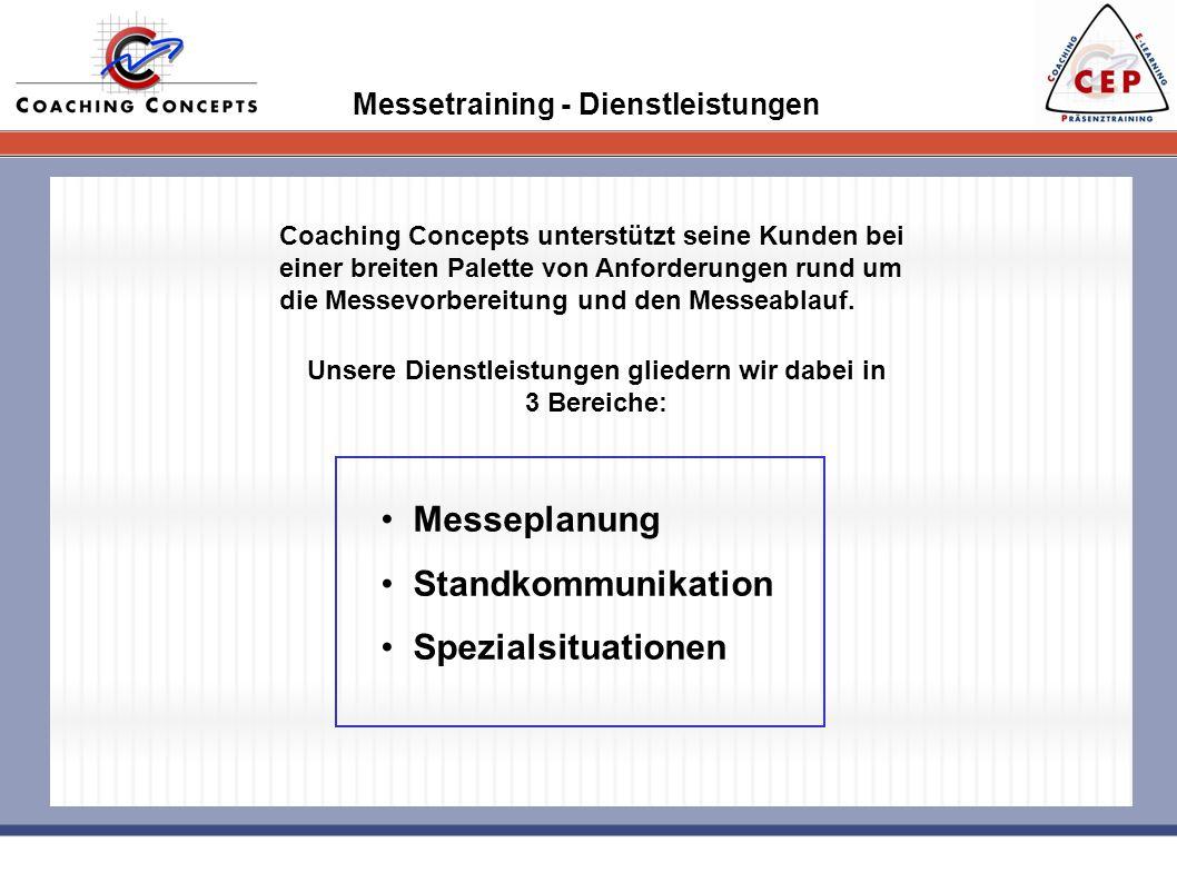 Messetraining - Dienstleistungen Coaching Concepts unterstützt seine Kunden bei einer breiten Palette von Anforderungen rund um die Messevorbereitung