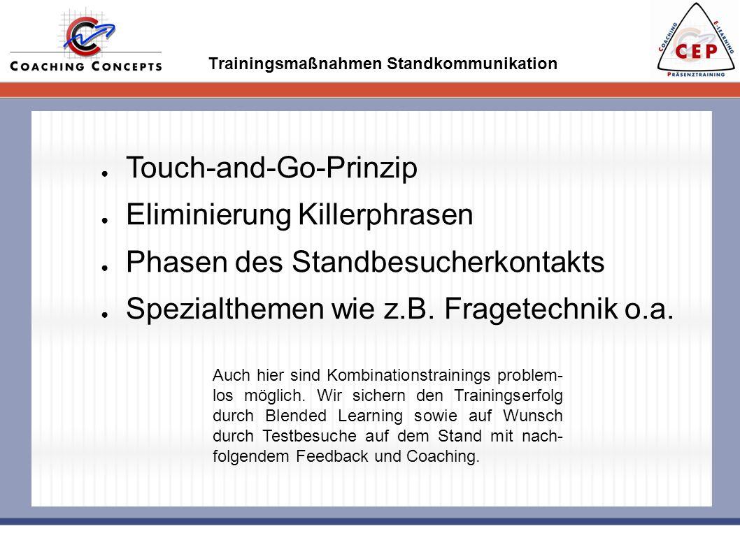 Trainingsmaßnahmen Standkommunikation Touch-and-Go-Prinzip Eliminierung Killerphrasen Phasen des Standbesucherkontakts Spezialthemen wie z.B. Fragetec