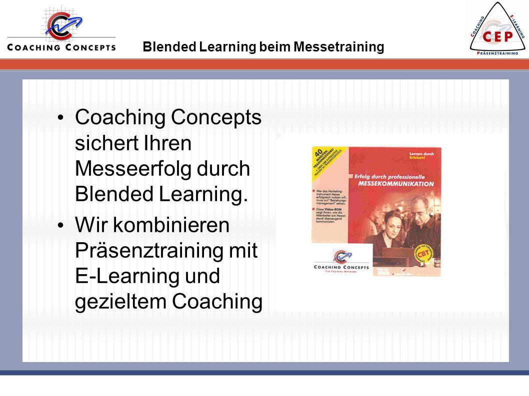 Blended Learning beim Messetraining Coaching Concepts sichert Ihren Messeerfolg durch Blended Learning. Wir kombinieren Präsenztraining mit E-Learning