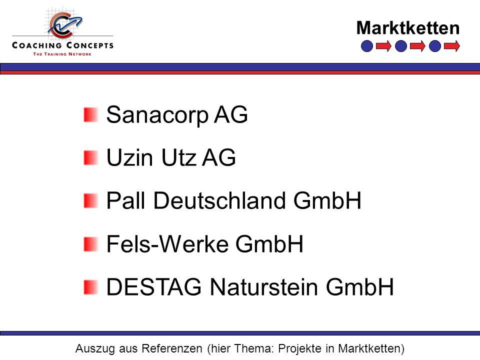 Marktketten Auszug aus Referenzen (hier Thema: Projekte in Marktketten) Sanacorp AG Uzin Utz AG Pall Deutschland GmbH Fels-Werke GmbH DESTAG Naturstei