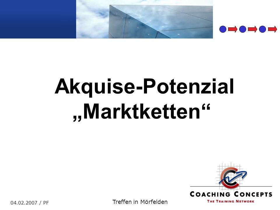 Marktketten 04.02.2007 / PF Treffen in Mörfelden … in eigener Sache … Vielfältige praktische Führungserfahrungen in unterschiedlichen Kulturen kombiniert mit dem notwendigen theoretischen Wissen, integriert in teilnehmerorientierte Veranstaltungen zeichnet mich als Trainer aus.