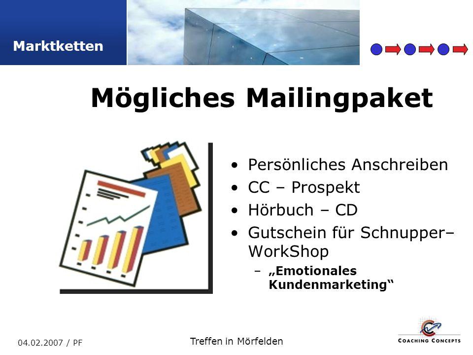 Marktketten 04.02.2007 / PF Treffen in Mörfelden Persönliches Anschreiben CC – Prospekt Hörbuch – CD Gutschein für Schnupper– WorkShop –Emotionales Kundenmarketing Mögliches Mailingpaket