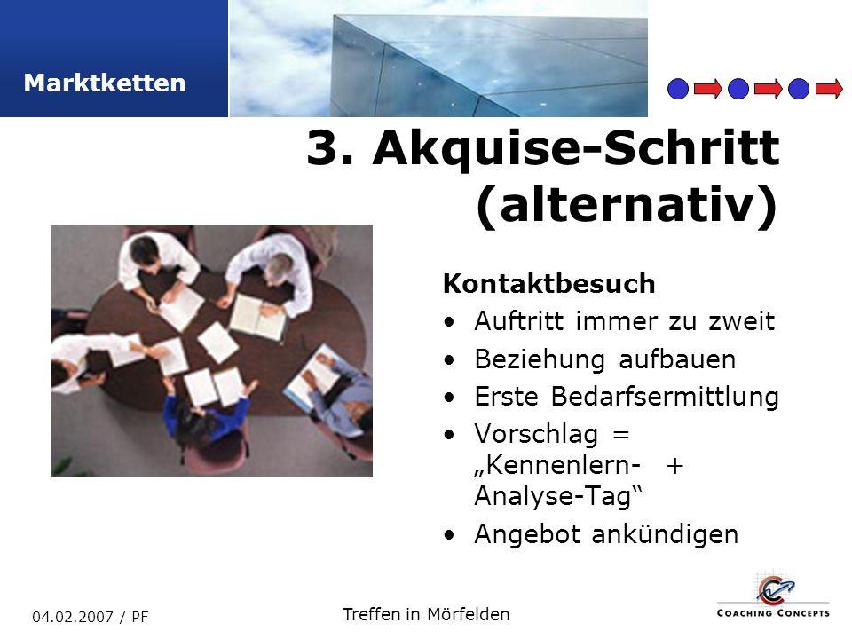 Marktketten 04.02.2007 / PF Treffen in Mörfelden Kontaktbesuch Auftritt immer zu zweit Beziehung aufbauen Erste Bedarfsermittlung Vorschlag = Kennenlern- + Analyse-Tag Angebot ankündigen 3.