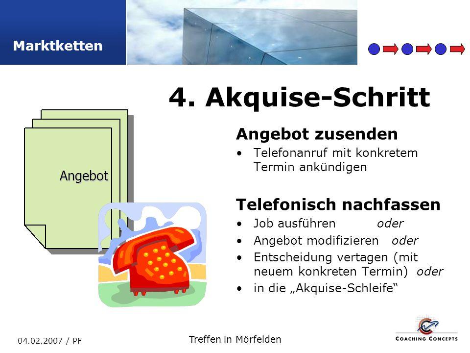 Marktketten 04.02.2007 / PF Treffen in Mörfelden Angebot zusenden Telefonanruf mit konkretem Termin ankündigen Telefonisch nachfassen Job ausführenoder Angebot modifizieren oder Entscheidung vertagen (mit neuem konkreten Termin) oder in die Akquise-Schleife 4.