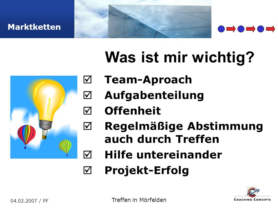 Marktketten 04.02.2007 / PF Treffen in Mörfelden Team-Aproach Aufgabenteilung Offenheit Regelmäßige Abstimmung auch durch Treffen Hilfe untereinander Projekt-Erfolg Was ist mir wichtig?