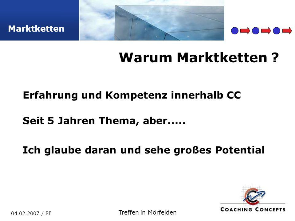 Marktketten 04.02.2007 / PF Treffen in Mörfelden Warum Marktketten .