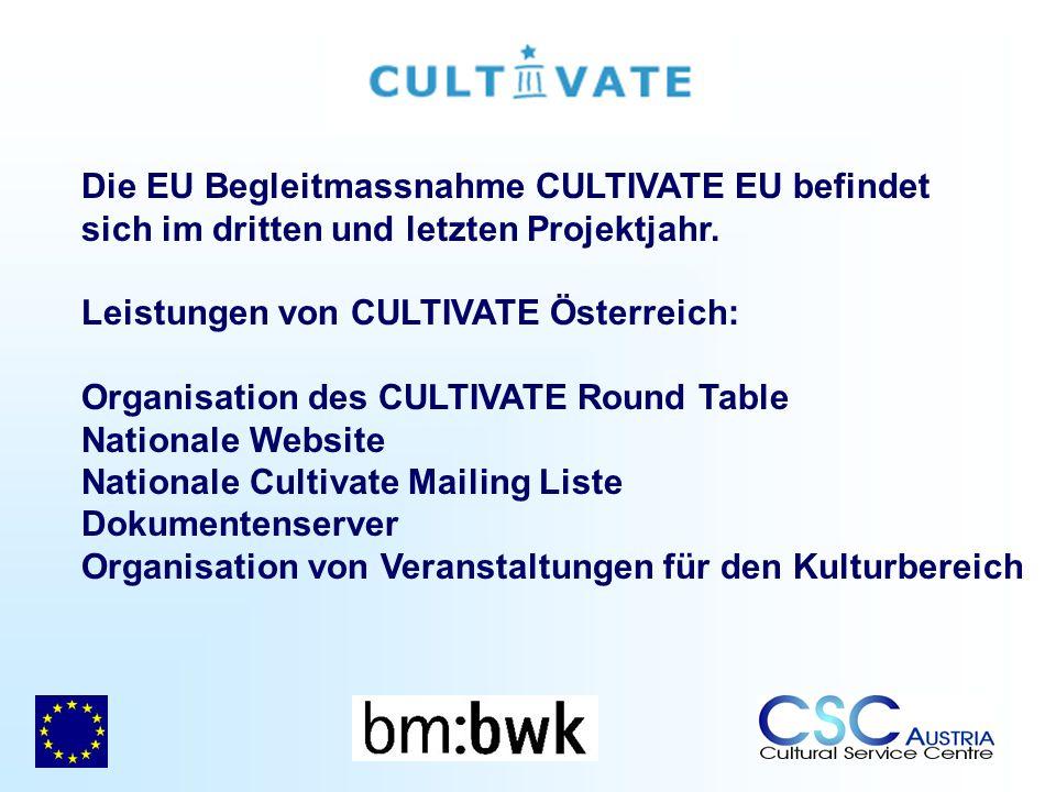 Die EU Begleitmassnahme CULTIVATE EU befindet sich im dritten und letzten Projektjahr. Leistungen von CULTIVATE Österreich: Organisation des CULTIVATE