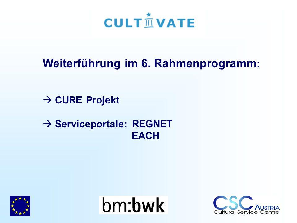 Weiterführung im 6. Rahmenprogramm : CURE Projekt Serviceportale: REGNET EACH