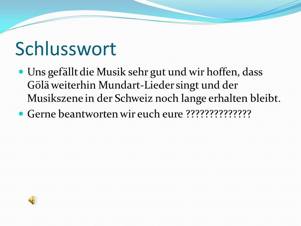 Schlusswort Uns gefällt die Musik sehr gut und wir hoffen, dass Gölä weiterhin Mundart-Lieder singt und der Musikszene in der Schweiz noch lange erhal