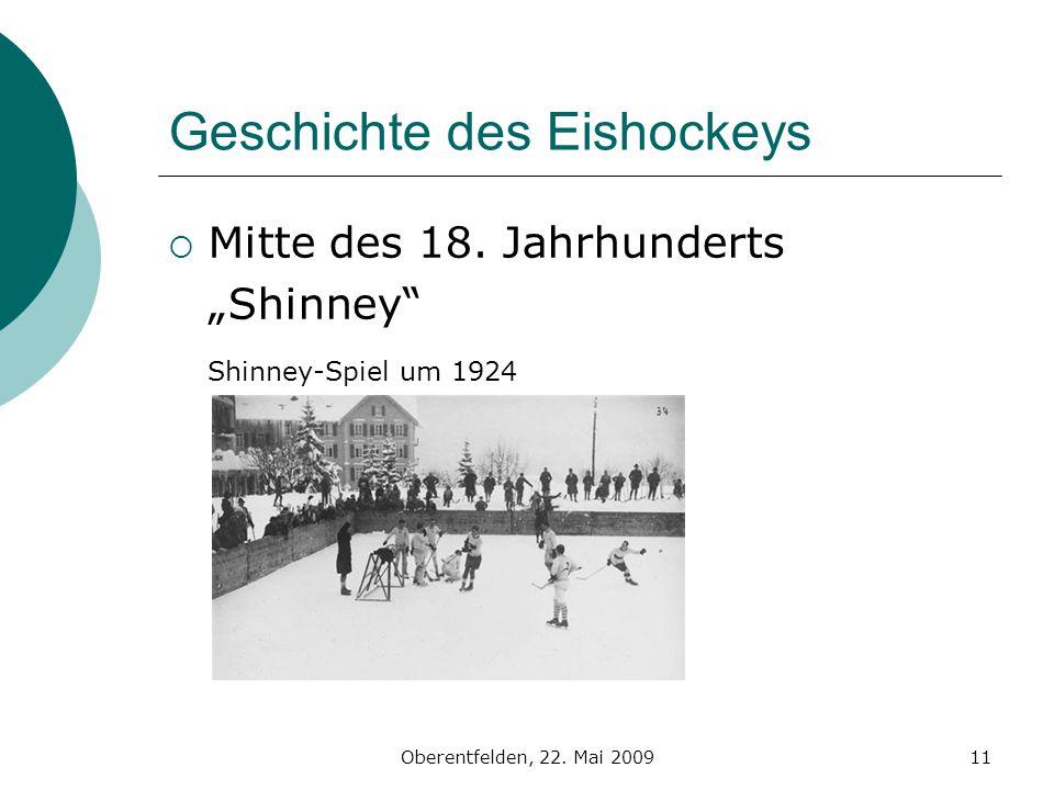 Oberentfelden, 22. Mai 200911 Geschichte des Eishockeys Mitte des 18. Jahrhunderts Shinney Shinney-Spiel um 1924