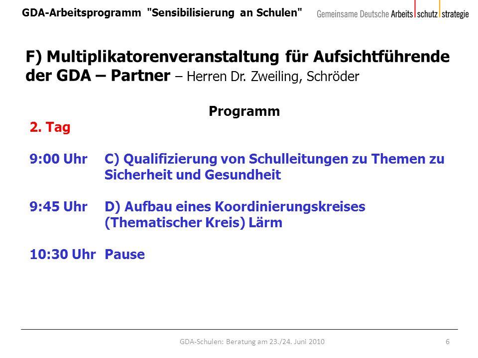 GDA-Arbeitsprogramm Sensibilisierung an Schulen GDA-Schulen: Beratung am 23./24.