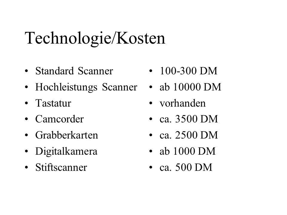 Technologie/Kosten Standard Scanner Hochleistungs Scanner Tastatur Camcorder Grabberkarten Digitalkamera Stiftscanner 100-300 DM ab 10000 DM vorhanden