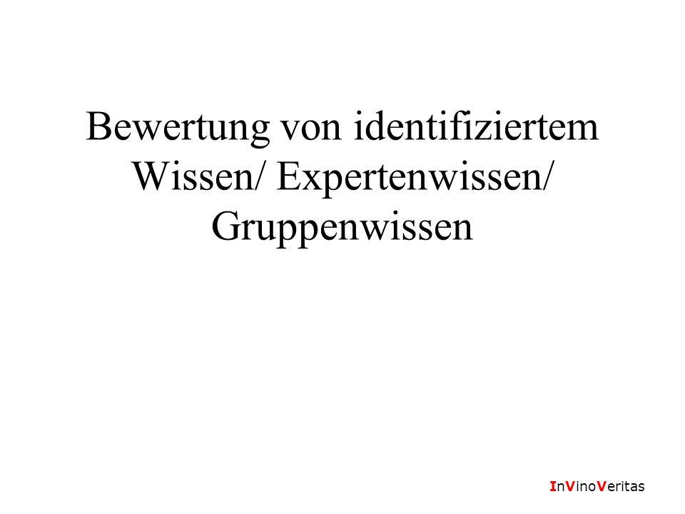 InVinoVeritas Bewertung von identifiziertem Wissen/ Expertenwissen/ Gruppenwissen