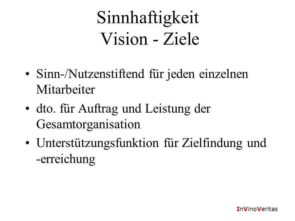 InVinoVeritas Sinnhaftigkeit Vision - Ziele Sinn-/Nutzenstiftend für jeden einzelnen Mitarbeiter dto. für Auftrag und Leistung der Gesamtorganisation